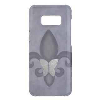 Stubborn Trendy Purple Butterfly and Fleur de Lis Get Uncommon Samsung Galaxy S8 Case