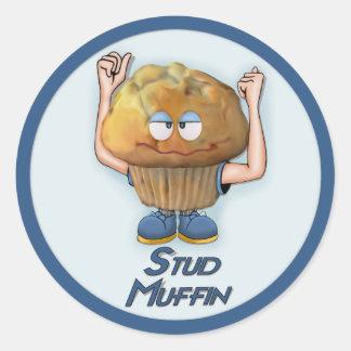 Stud Muffin Humor Classic Round Sticker