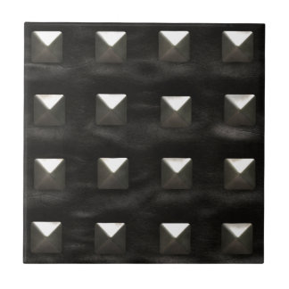 Studded Black Leather Ceramic Tile