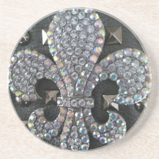 Studded Fleur de lis print Coaster
