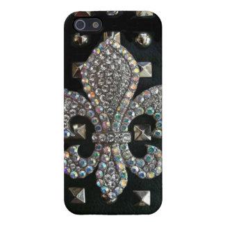 Studded Fleur de lis print Cases For iPhone 5