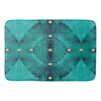 Studded Floor Pattern in Aqua Blues Bath Mat