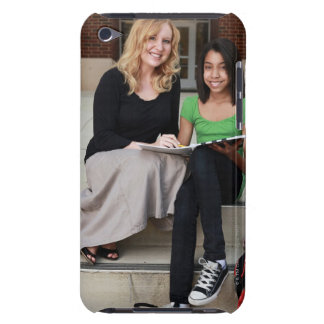 student and teacher outside on steps at school iPod touch Case-Mate case