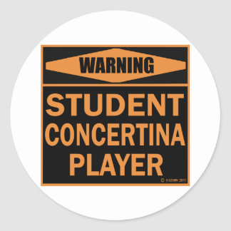 Student Concertina Player Round Sticker