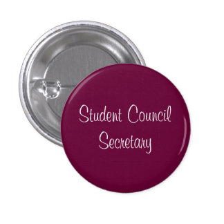 Student Council Secretary 3 Cm Round Badge