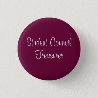 Student Council Treasurer 3 Cm Round Badge
