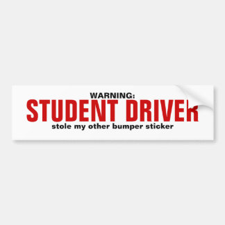STUDENT DRIVER CAR BUMPER STICKER