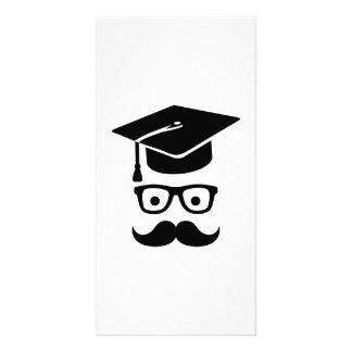 Student Graduation hat mustache Personalized Photo Card