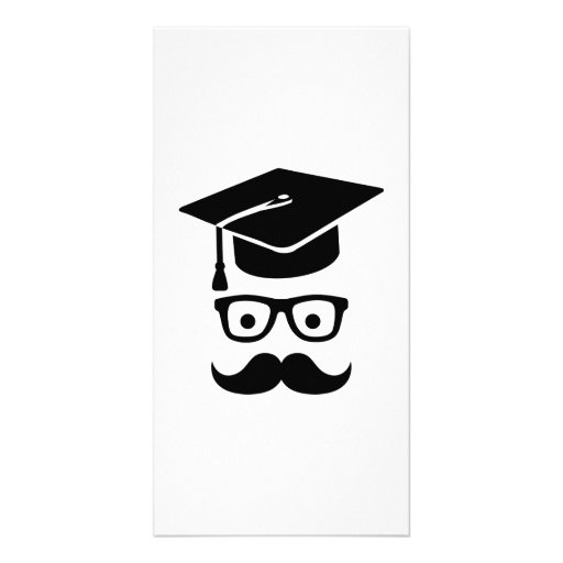 Student Graduation hat mustache Personalized Photo Card