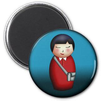 Student Kokeshi, round magnet