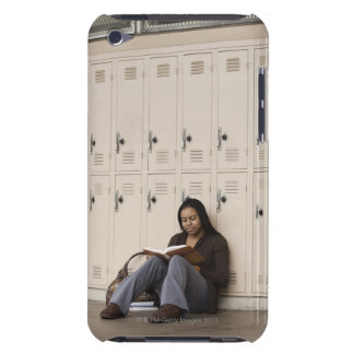 Student leaning on school lockers studying iPod Case-Mate case