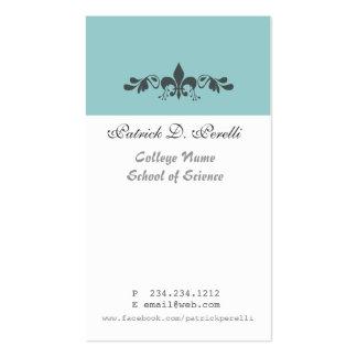 Student Minimal Fleur-de-lis Blue White Modern Pack Of Standard Business Cards