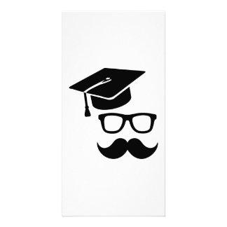 Student moustache graduation photo cards