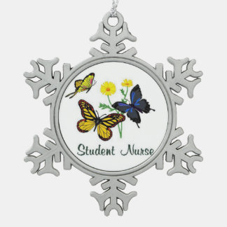 Student Nurse Butterflies Snowflake Pewter Christmas Ornament