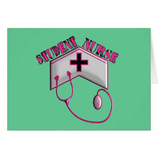 Student Nurse EMBOSSED Cap and Stethoscope Card