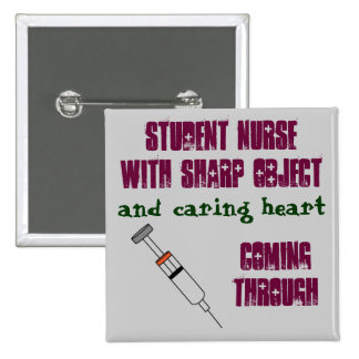 Student nurse with syringe 15 cm square badge