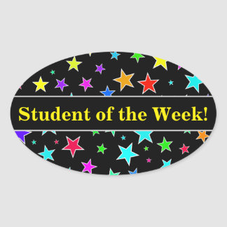 Student Praise + Fun, Colorful Stars Pattern Oval Sticker
