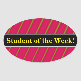 Student Praise + Green Lines on Crimson Pattern Oval Sticker