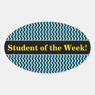 Student Praise + Light Blue & Black Wave Pattern Oval Sticker