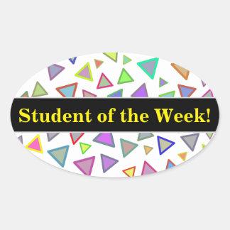 Student Praise + Multicolored Triangles Pattern Oval Sticker