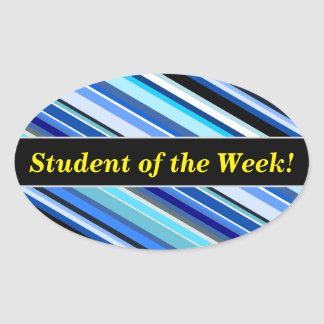 Student Praise + Various Shades of Blue Stripes Oval Sticker