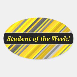 Student Praise + Yellow & Gray Stripes Pattern Oval Sticker