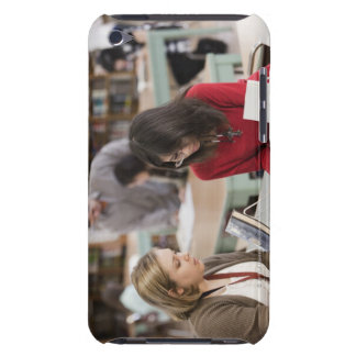Student talking to librarian in school library barely there iPod cover