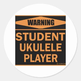 Student Ukulele Player Round Sticker