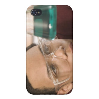 Student watching chemistry experiment iPhone 4 cases