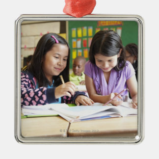 Students working together in classroom christmas ornament