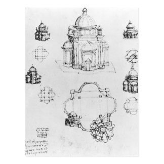 Studies for a building of a centralised plan postcard