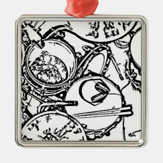 Studio Drums with Headphones and Sticks Silver-Colored Square Decoration