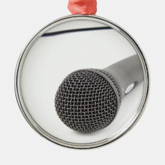 Studio Microphone Silver-Colored Round Decoration