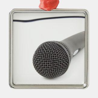 Studio Microphone Silver-Colored Square Decoration