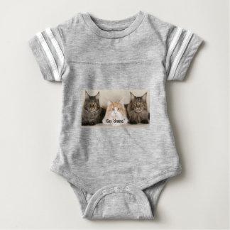 "Studio Photo - 3 Cats Saying ""Cheese"" Baby Bodysuit"
