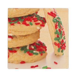 Studio Shot of christmas cookies with sprinkles Maple Wood Coaster