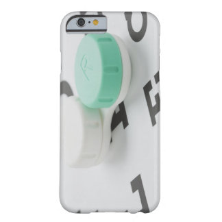 Studio shot of contact lens case on eye chart barely there iPhone 6 case