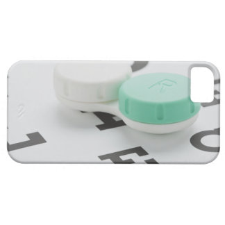 Studio shot of contact lens case on eye chart iPhone 5 cases