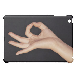 Studio shot of hand gesturing a sign cover for the iPad mini