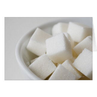 Studio shot of sugar cubes in bowl card