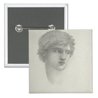 Study for the Head of Perseus pencil on paper Button