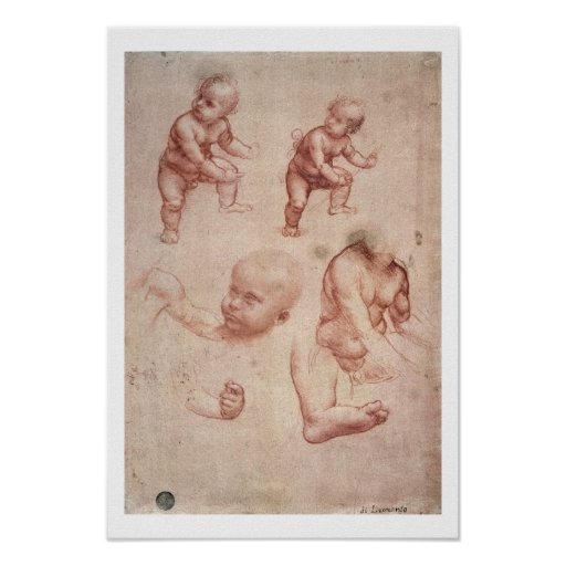 Study for the Infant Christ, c.1501-10 (red chalk Print