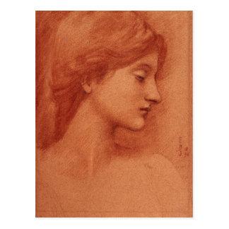 Study of a Female Head, Edward Burne-Jones Postcard