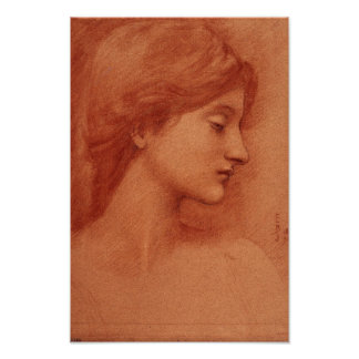 Study of a Female Head, Edward Burne-Jones Poster