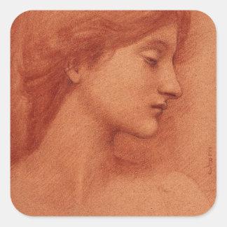 Study of a Female Head, Edward Burne-Jones Square Sticker