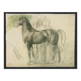 Study of a Horse by Edgar Degas, Vintage Fine Art Poster