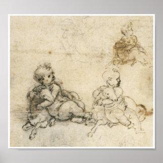 Study of an Infant Holding a Lamp Da Vinci Poster