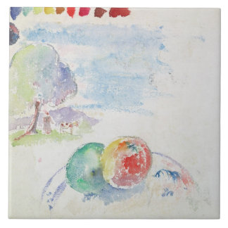 Study of Fruits and a Landscape, 1892 (w/c on pape Tile