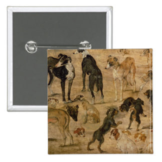 Study of Hounds, 1616 15 Cm Square Badge