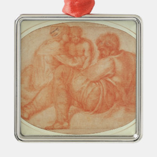 Study of the Holy Family Silver-Colored Square Decoration